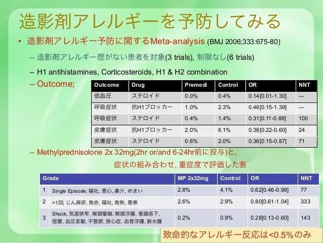 造影剤アレルギーを予防してみる• 造影剤アレルギー予防に関するMeta-analysis (BMJ 2006;333:675-80)  – 造影剤アレルギー歴がない患者を対象(3 trials), 制限なし(6 trials)  – H1 an...