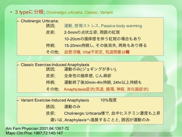 • 3 typeに分類; Cholinergic urticaria, Classic, Variant     – Cholinergic Urticaria;                     誘因;        運動, 感情ストレ...