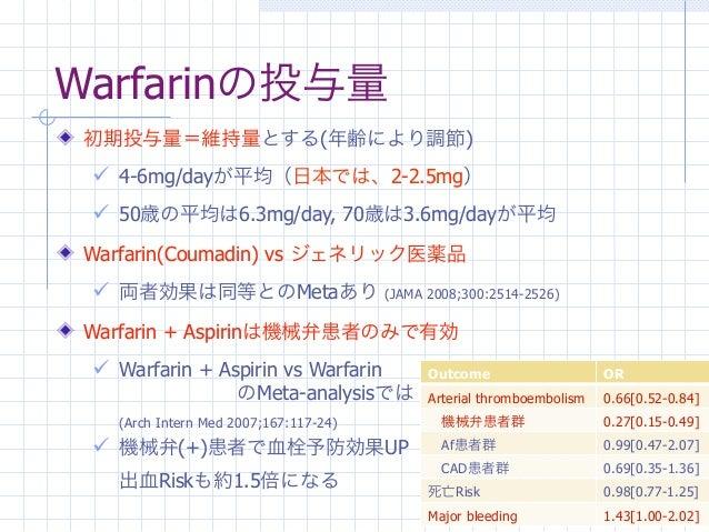 Warfarinの投与量 初期投与量=維持量とする(年齢により調節)  4-6mg/dayが平均(日本では、2-2.5mg)  50歳の平均は6.3mg/day, 70歳は3.6mg/dayが平均 Warfarin(Coumadin) vs...