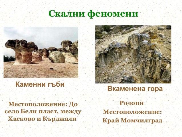 Скални феномени   Каменни гъби                          Вкаменена гора Местоположение: До          Родописело Бели пласт, ...