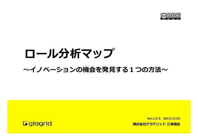 ロール分析マップ〜~イノベーションの機会を発⾒見見する1つの⽅方法〜~                        Ver.1.5.0   2013/2/20                    株式会社グラグリッド 三澤直加
