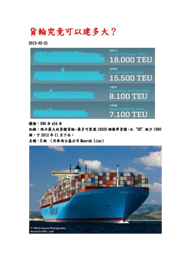 """貨輪究竟可以建多大?2013-02-21體積︰396 米 x54 米紀錄︰現今最大的貨櫃貨輪,最多可裝載 16020 個標準貨櫃,比""""3E""""級少 1980個,于 2012 年 11 月下水。名稱︰E 級 (丹麥馬士基公司 Maersk Line)"""