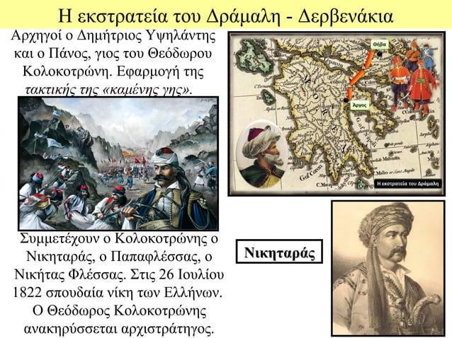 Η εκστρατεία του Δράμαλη - ΔερβενάκιαΑρχηγοί ο Δημήτριος Υψηλάντηςκαι ο Πάνος, γιος του Θεόδωρου Κολοκοτρώνη. Εφαρμογή της...