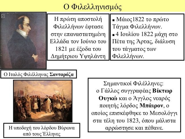 Ο Φιλελληνισμός                    Η πρώτη αποστολή       ■ Μάιος1822 το πρώτο                    Φιλελλήνων έφτασε      Τ...