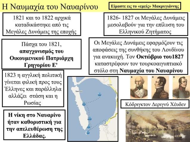 Η Ναυμαχία του Ναυαρίνου            Είμαστε εις το «εμείς» Μακρυγιάννης  1821 και το 1822 αρχικά          1826- 1827 οι Με...