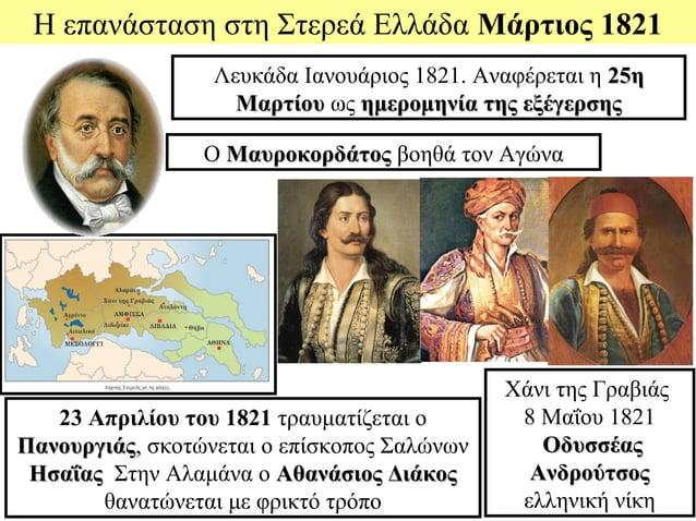 Η επανάσταση στη Στερεά Ελλάδα Μάρτιος 1821                  Λευκάδα Ιανουάριος 1821. Αναφέρεται η 25η                    ...