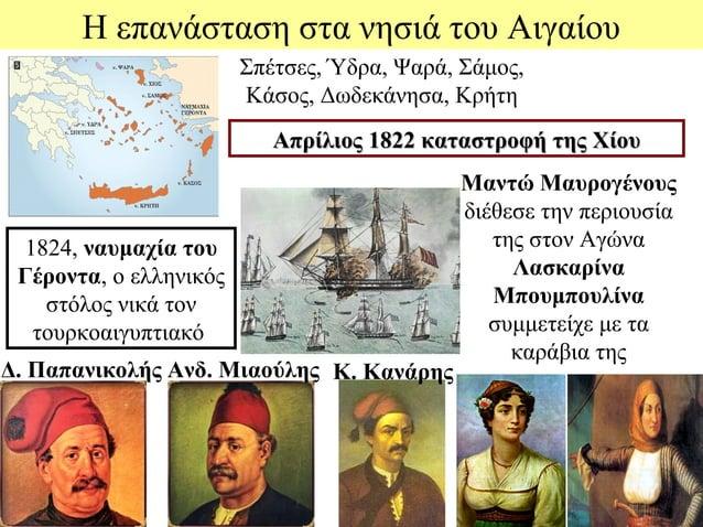 Η επανάσταση στα νησιά του Αιγαίου                        Σπέτσες, Ύδρα, Ψαρά, Σάμος,                        Κάσος, Δωδεκά...
