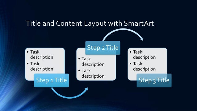 Title and Content Layout with SmartArt                       Step 2 Title• Task                                • Task  des...