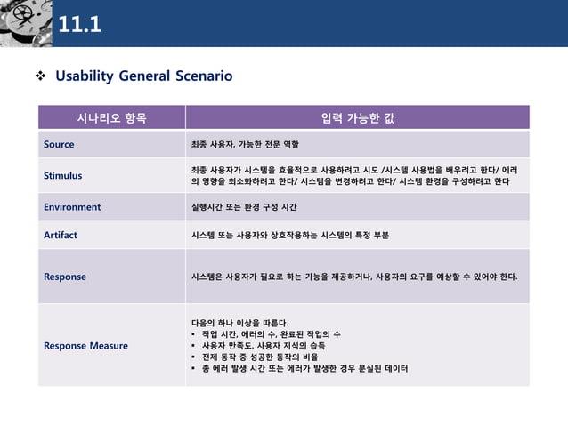 11.1  Usability General Scenario  시나리오항목  입력가능한값  Source  최종사용자, 가능한전문역할  Stimulus  최종사용자가시스템을효율적으로사용하려고시도/시스템사용법을배우려고한다/...