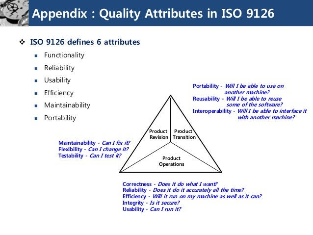 Appendix : Quality Attributes in ISO 9126  ISO 9126 defines 6 attributes  Functionality  Reliability  Usability  Effi...
