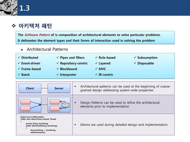 1.3  아키텍처패턴  Architectural Patterns  The Software Pattern of is composition of architectural elements to solve particula...