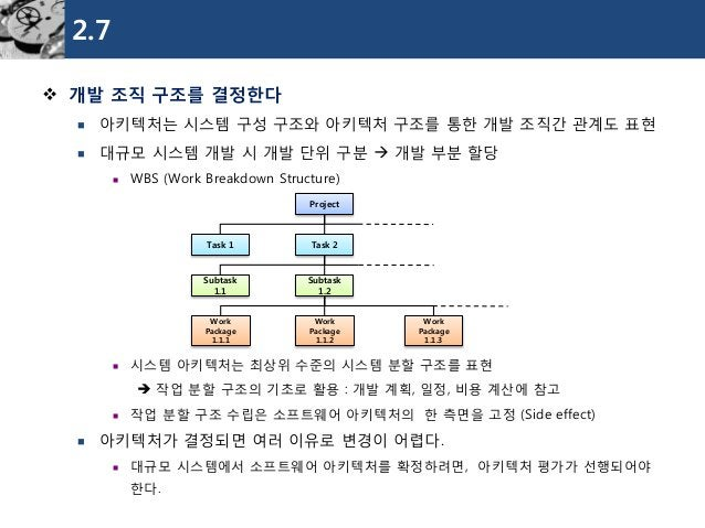 2.7  개발조직구조를결정한다  아키텍처는시스템구성구조와아키텍처구조를통한개발조직간관계도표현  대규모시스템개발시개발단위구분개발부분할당  WBS (Work Breakdown Structure)  시스템아키텍처는최...