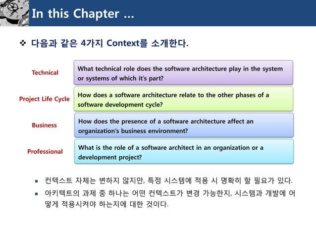 In this Chapter …  다음과같은4가지Context를소개한다.  컨텍스트자체는변하지않지만, 특정시스템에적용시명확히할필요가있다.  아키텍트의과제중하나는어떤컨텍스트가변경가능한지, 시스템과개발에어떻게적용시켜야...