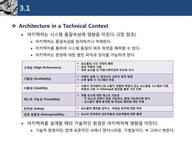3.1  Architecture in a Technical Context  아키텍처는시스템품질속성에영향을미친다. (2장참조)  아키텍처는품질속성을장려하거나억제한다.  아키텍처를통하여시스템품질의여러측면을예측할수있다...