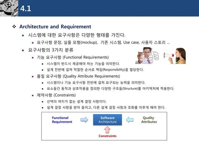 4.1  Architecture and Requirement  시스템에대한요구사항은다양한형태를가진다.  요구사항문장, 실물모형(mockup), 기존시스템, Use case, 사용자스토리…  요구사항의3가지분류  ...