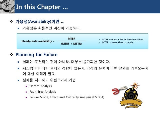 In this Chapter …  가용성(Availability)이란…  가용성은확률적인계산이가능하다.  Planning for Failure  실패는조건적인것이아니라, 대부분불가피한것이다.  시스템이어떠한실패...