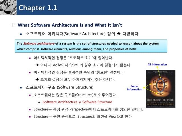 "Chapter 1.1  What Software Architecture Is and What It Isn't  소프트웨어아키텍처(Software Architecture)정의다양하다  아키텍처적인결정은""프로젝트초기..."