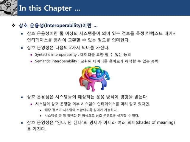 In this Chapter …  상호운용성(Interoperability)이란…  상호운용성이란둘이상의시스템들이의미있는정보를특정컨텍스트내에서인터페이스를통하여교환할수있는정도를의미한다.  상호운영성은다음의2가지의미를...