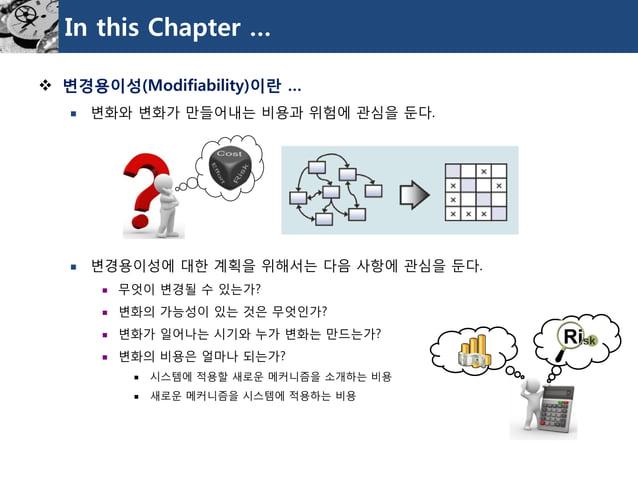 In this Chapter …  변경용이성(Modifiability)이란…  변화와변화가만들어내는비용과위험에관심을둔다.  변경용이성에대한계획을위해서는다음사항에관심을둔다.  무엇이변경될수있는가?  변화의가능성이...