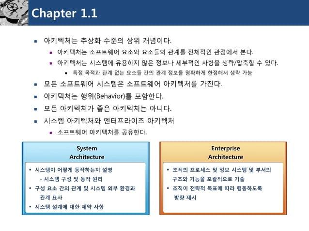 Chapter 1.1  아키텍처는추상화수준의상위개념이다.  아키텍처는소프트웨어요소와요소들의관계를전체적인관점에서본다.  아키텍처는시스템에유용하지않은정보나세부적인사항을생략/압축할수있다.  특정목적과관계없는요소들간의관...