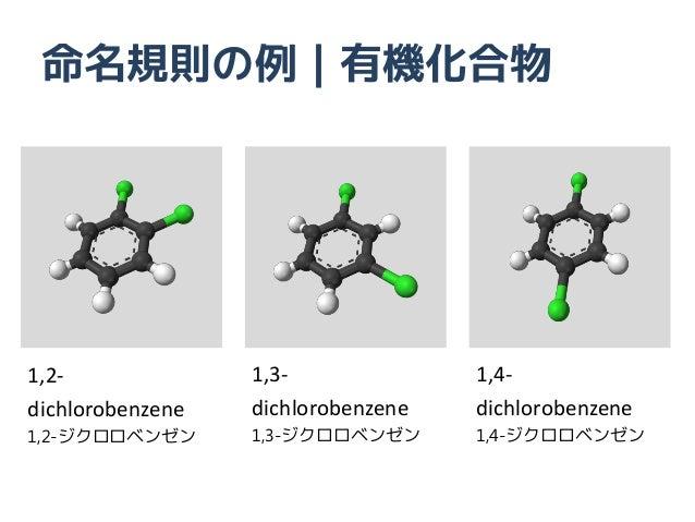 命名規則の例|有機化合物1,2-              1,3-              1,4-dichlorobenzene   dichlorobenzene   dichlorobenzene1,2-ジクロロベンゼン      1...
