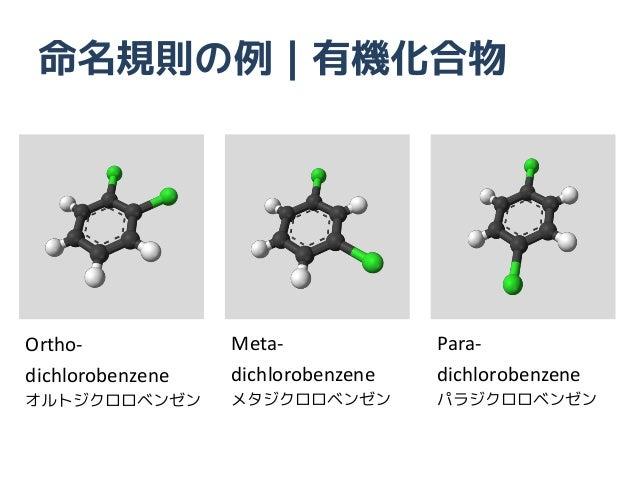 命名規則の例|有機化合物Ortho-            Meta-             Para-dichlorobenzene   dichlorobenzene   dichlorobenzeneオルトジクロロベンゼン       ...