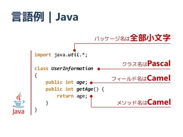 言語例|Java                        パッケージ名は全部小文字  import java.util.*;  class UserInformation                                クラ...