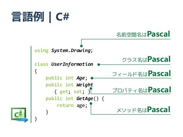言語例|C#                              名前空間名はPascal  using System.Drawing;  class UserInformation                            ...
