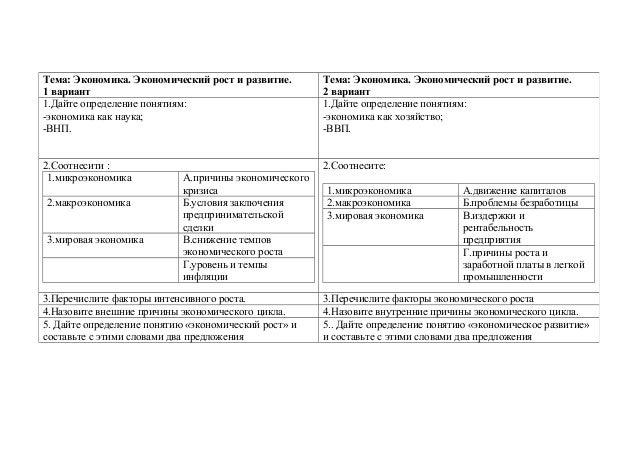 афончева ирина львовна проверочные работы по обществознанию к теме че  2 Тема Экономика Экономический