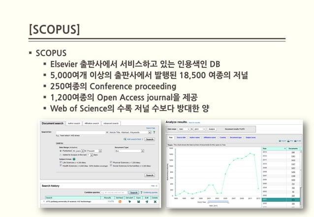 [SCOPUS] SCOPUS     Elsevier 출판사에서 서비스하고 있는 인용색인 DB     5,000여개 이상의 출판사에서 발행된 18,500 여종의 저널     250여종의 Conference proc...