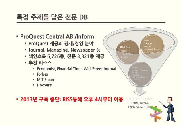 특정 주제를 담은 전문 DB ProQuest Central ABI/Inform                                                                              ...