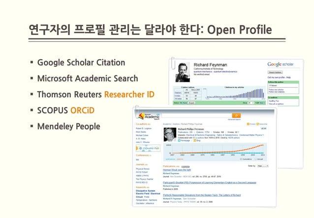 연구자의 프로필 관리는 달라야 한다: Open Profile Google Scholar Citation Microsoft Academic Search Thomson Reuters Researcher ID SCOP...