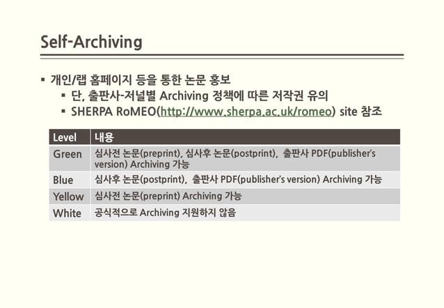 Self-Archiving 개인/랩 홈페이지 등을 통한 논문 홍보    단, 출판사-저널별 Archiving 정책에 따른 저작권 유의    SHERPA RoMEO(http://www.sherpa.ac.uk/rome...