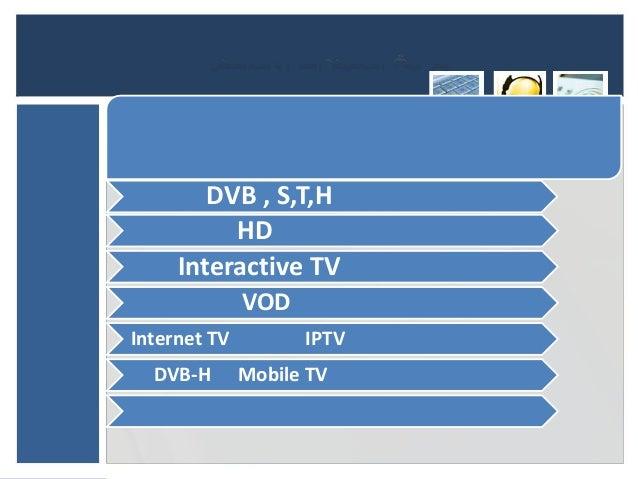 DVB , S,T,H          HD     Interactive TV              VODInternet TV         IPTV  DVB-H       Mobile TV