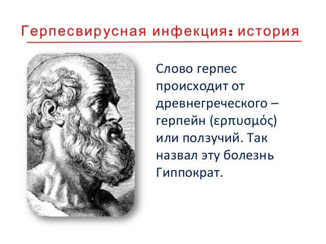 :Герпесвирусная инфекция история Слово герпес происходит от древнегреческого – герпейн (ερπυσμός) или ползучий. Так назвал...