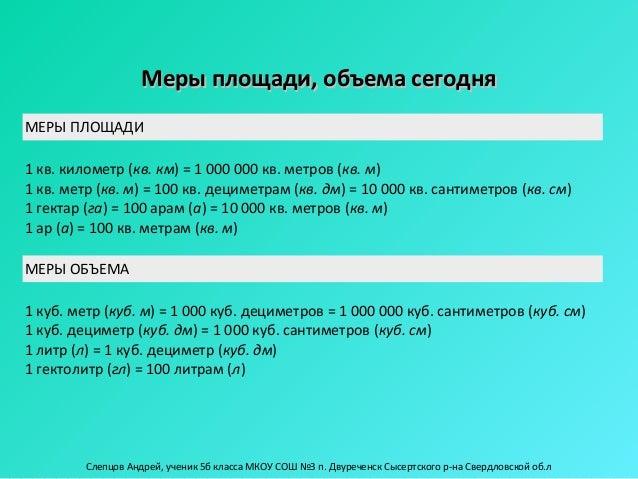 Меры площади, объема сегодняМЕРЫ ПЛОЩАДИ1 кв. километр (кв. км) = 1 000 000 кв. метров (кв. м)1 кв. метр (кв. м) = 100 кв....
