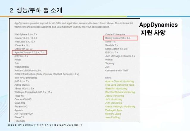 2. 성능/부하 툴 소개                                             AppDynamics                                             지원 사양개발자...