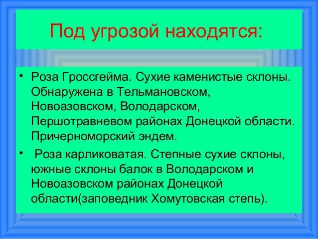 Под угрозой находятся:• Роза Гроссгейма. Сухие каменистые склоны.  Обнаружена в Тельмановском,  Новоазовском, Володарском,...