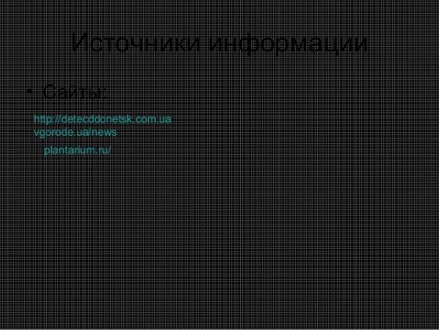 Источники информации• Сайты:http://detecddonetsk.com.uavgorode.ua/news  plantarium.ru/
