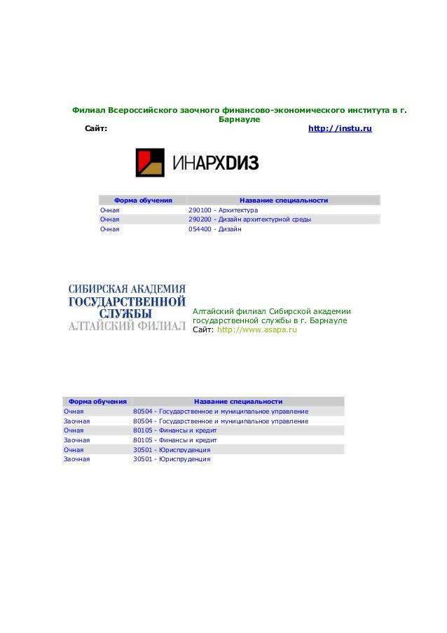 Филиал Всероссийского заочного финансово-экономического института в г.БарнаулеСайт: http://instu.ruФорма обучения Название...