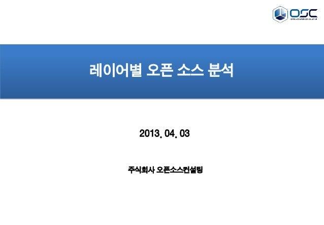 2013. 04. 03레이어별 오픈 소스 분석주식회사 오픈소스컨설팅