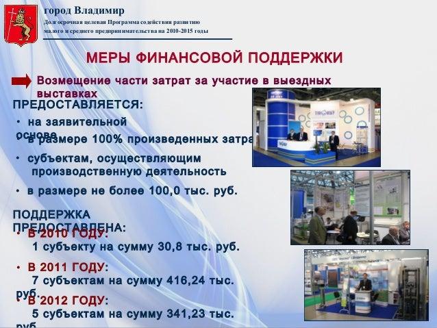 город ВладимирДолгосрочная целевая Программа содействия развитиюмалого и среднего предпринимательства на 2010-2015 годыВоз...