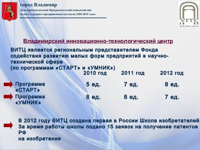 город ВладимирДолгосрочная целевая Программа содействия развитиюмалого и среднего предпринимательства на 2010-2015 годыВИТ...