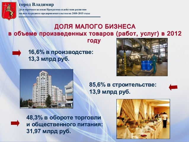 город ВладимирДолгосрочная целевая Программа содействия развитиюмалого и среднего предпринимательства на 2010-2015 годы16,...