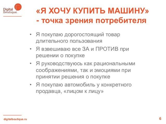 digitalboutique.ru«Я ХОЧУ КУПИТЬ МАШИНУ»- точка зрения потребителя6• Я покупаю дорогостоящий товардлительного пользования•...