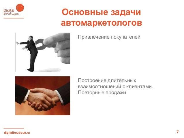 digitalboutique.ruОсновные задачиавтомаркетологов7Привлечение покупателейПостроение длительныхвзаимоотношений с клиентами....