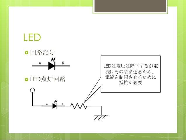 LED 回路記号 LED点灯回路LEDは電圧は降下するが電流はそのまま通るため、電流を制限させるために抵抗が必要