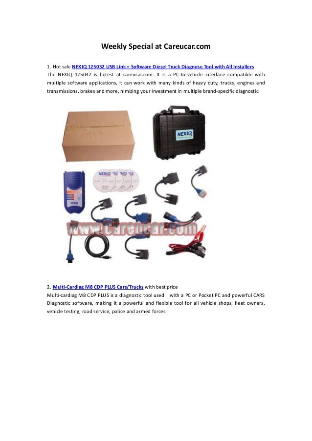 Weekly Special at Careucar.com1. Hot sale NEXIQ 125032 USB Link + Software Diesel Truck Diagnose Tool with All InstallersT...