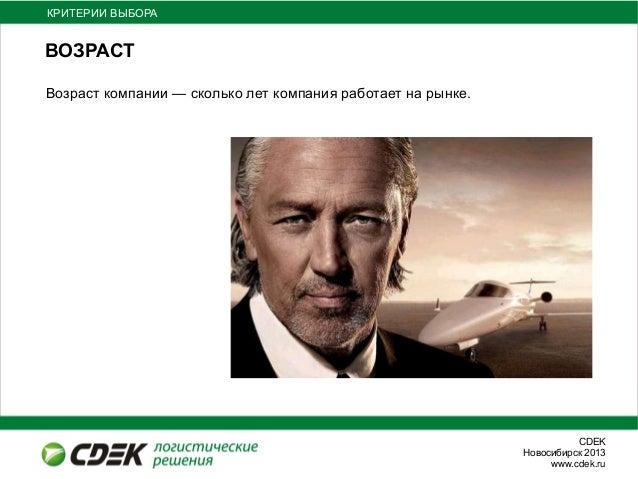 СDEKНовосибирск 2013www.cdek.ruВОЗРАСТКРИТЕРИИ ВЫБОРАВозраст компании — сколько лет компания работает на рынке.