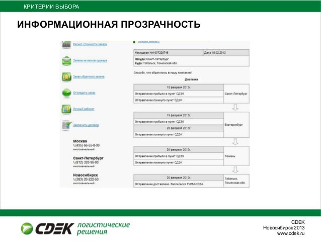 СDEKНовосибирск 2013www.cdek.ruИНФОРМАЦИОННАЯ ПРОЗРАЧНОСТЬКРИТЕРИИ ВЫБОРА